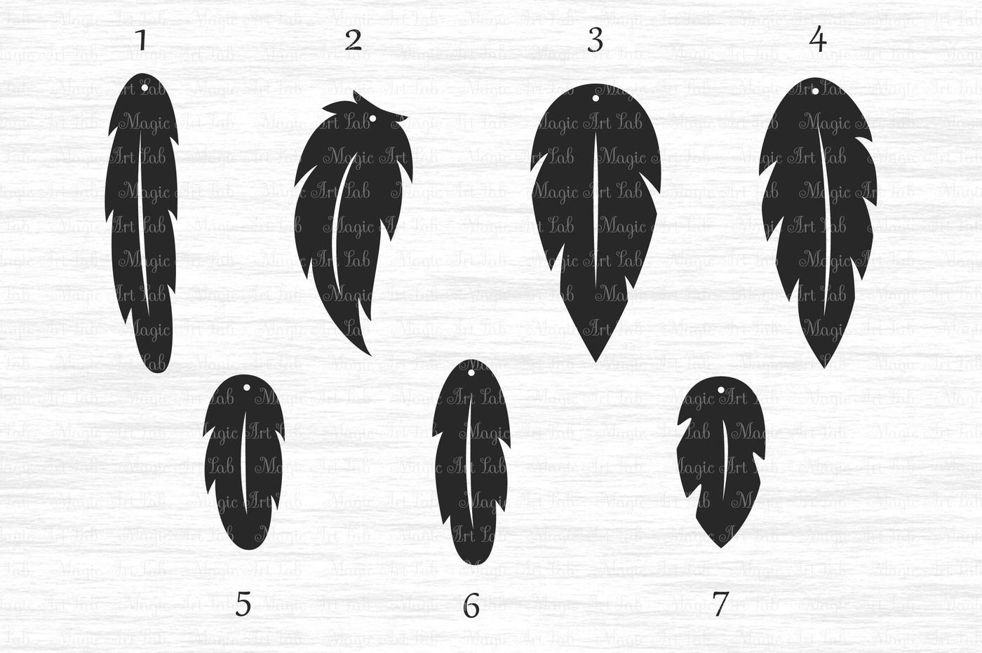 Feather Earrings Svg Dxf Eps Ai Png Pdf Jpeg By Magicartlab