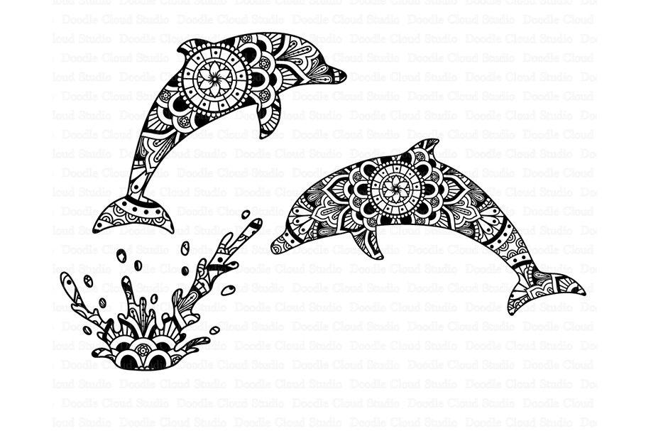 Dolphin Mandala Svg Zentangle Svg Mandala Dolphin Svg Files By