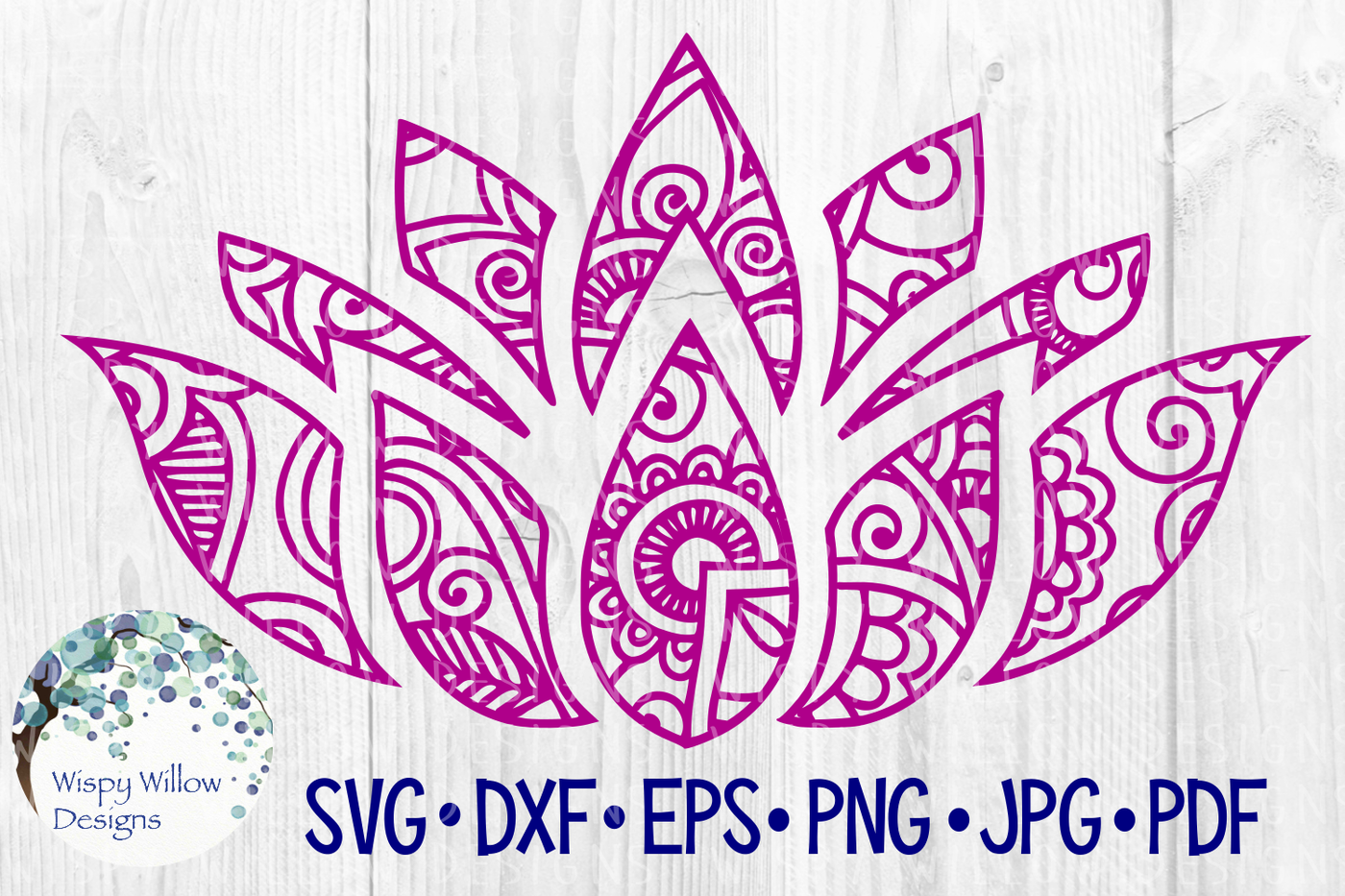 Lotus Flower Zentangle Mandala Peace Svg Dxf Eps Png Jpg Pdf By