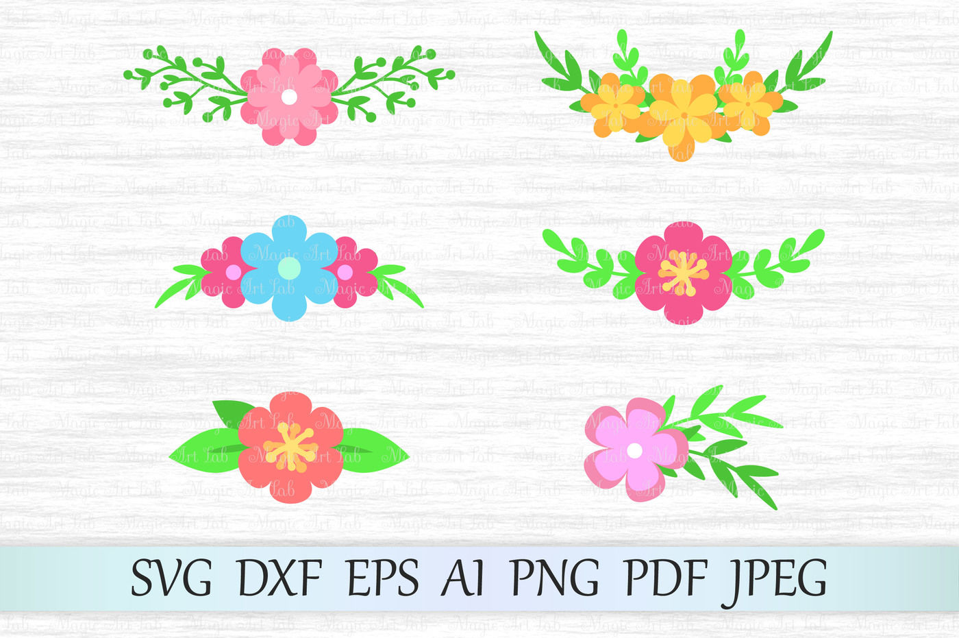 Flower Clipart Floral Svg Dxf Eps Ai Png Pdf Jpeg By