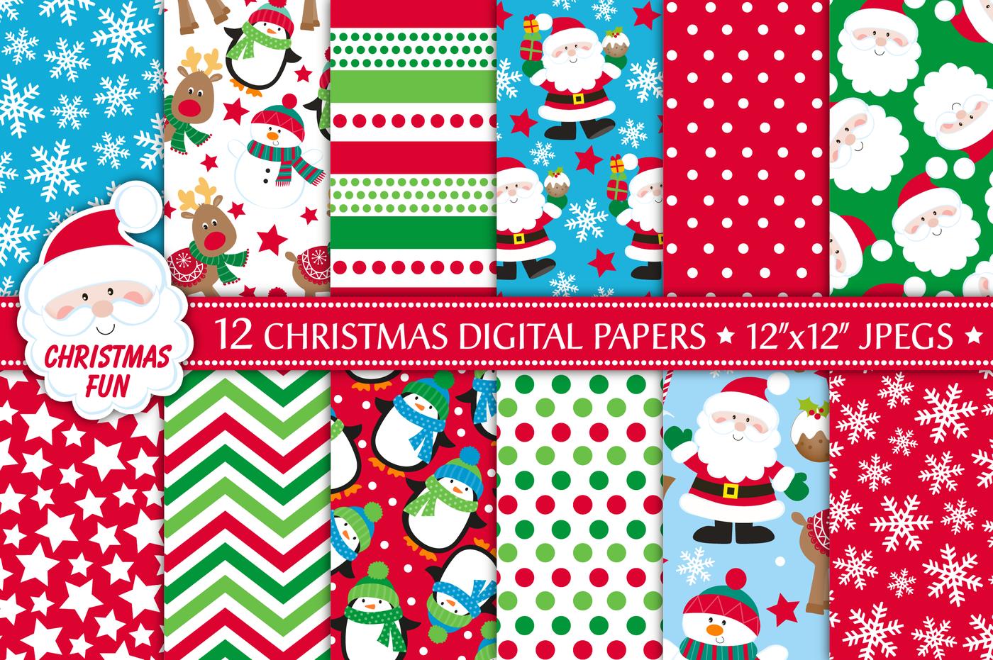 Christmas Digital Papers Christmas Patterns Santa By Jo Kavanagh