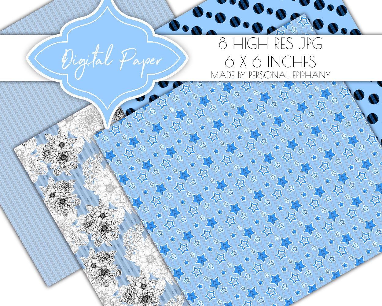 Light Blue Digital Paper Floral Background Pattern Scrapbook