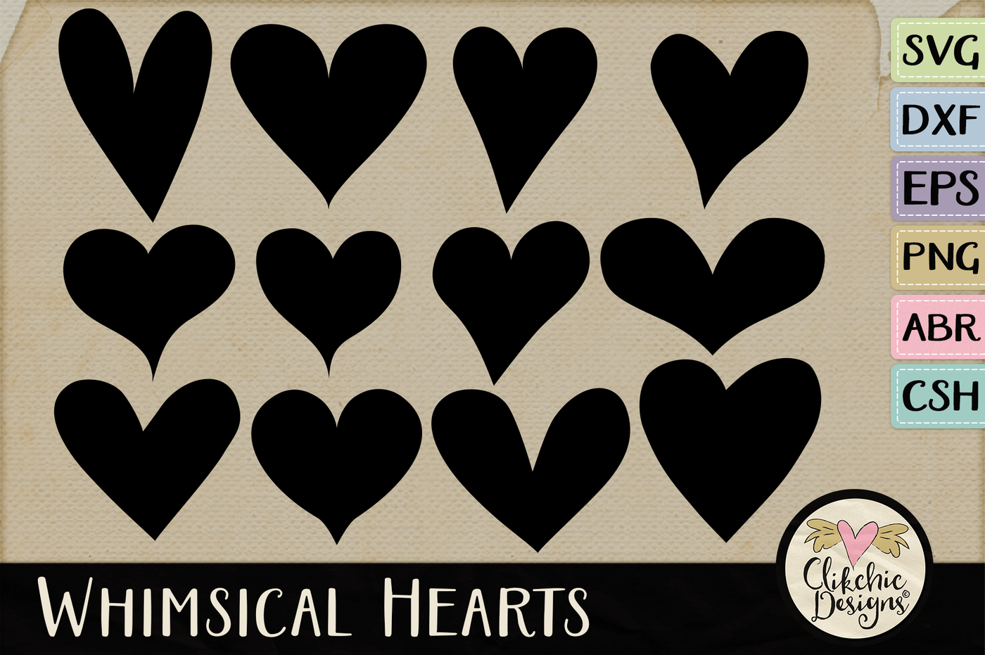 Whimsical Hearts Svg Dxf Cutting Files Photoshop Brushes By