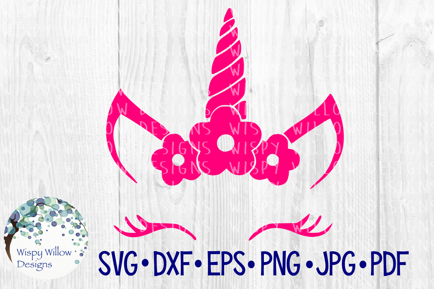 Unicorn Flower Face Svg Dxf Eps Png Jpg Pdf By Wispy Willow