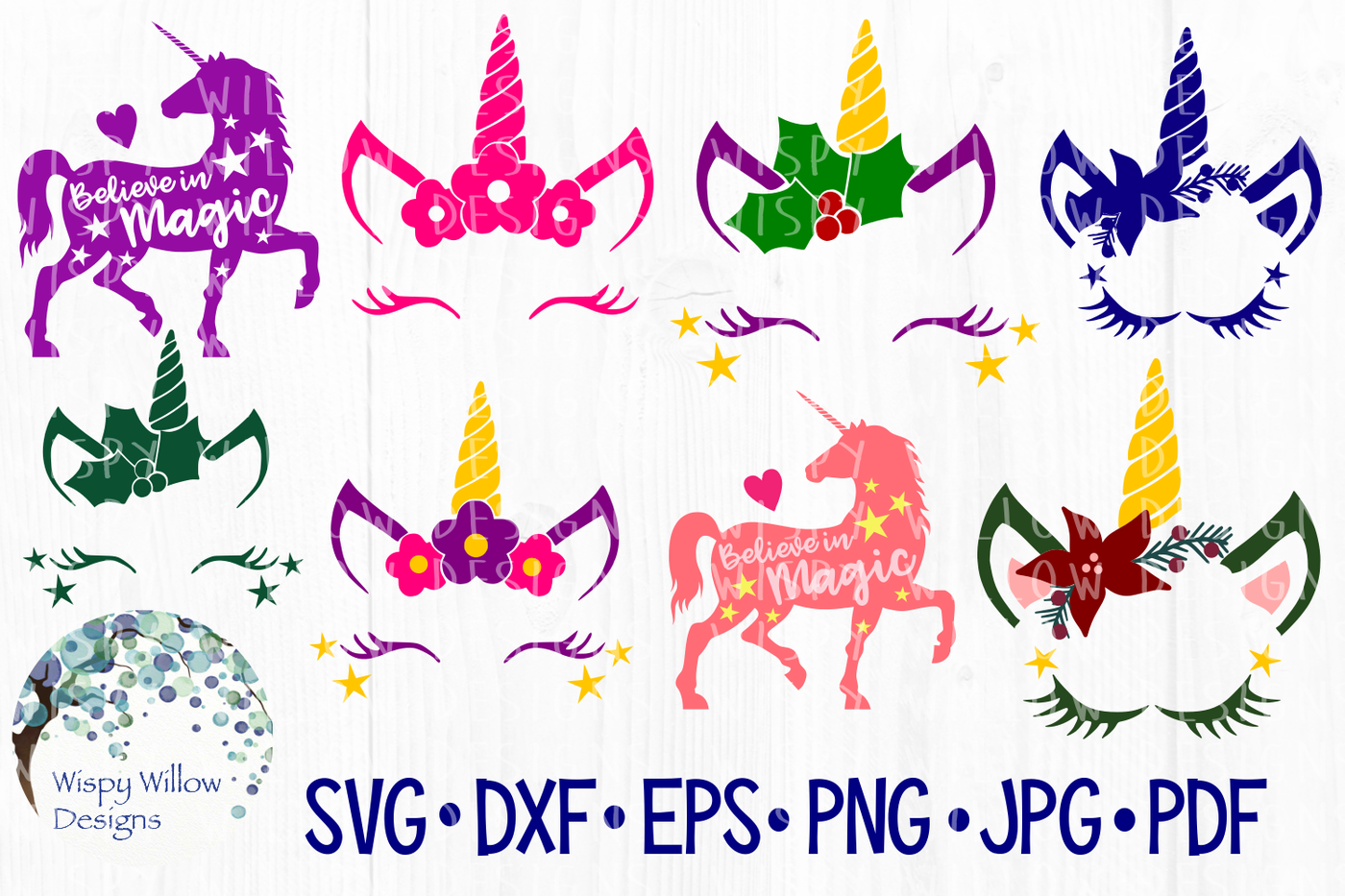 Unicorn Bundle Christmas Magic Flower Svg Dxf Eps Png Jpg Pdf