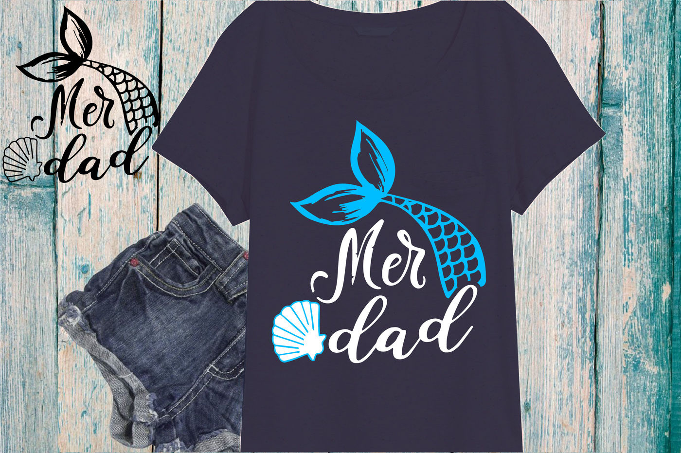 Mer Dad Mermaid Svg Cutting Files Party Fathers Day Svg 882s By