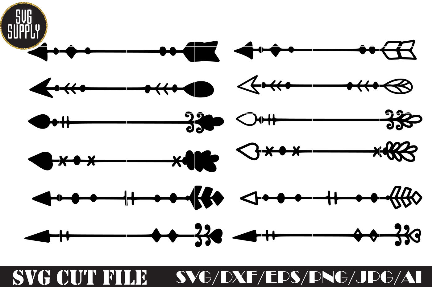 Arrow Set Svg Cut File By Svgsupply Thehungryjpeg Com