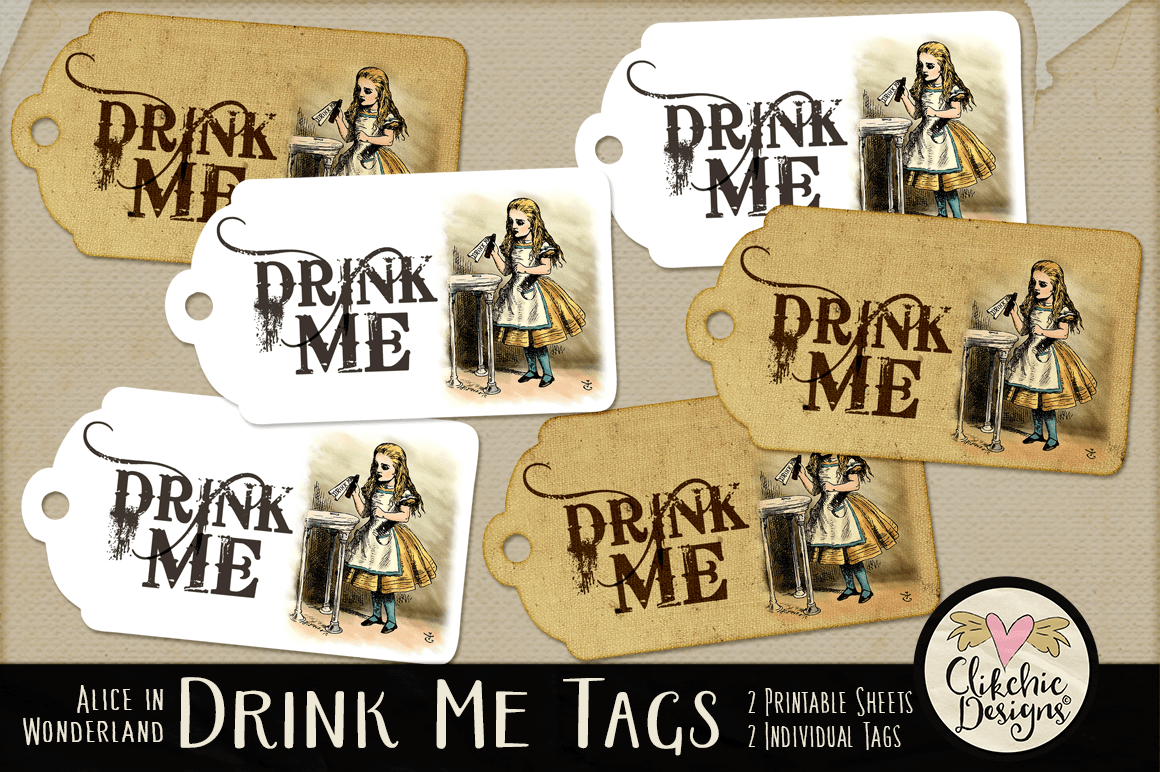 image regarding Alice in Wonderland Printable identified as Consume Me Alice inside Wonderland Printable Tags By way of Clikchic