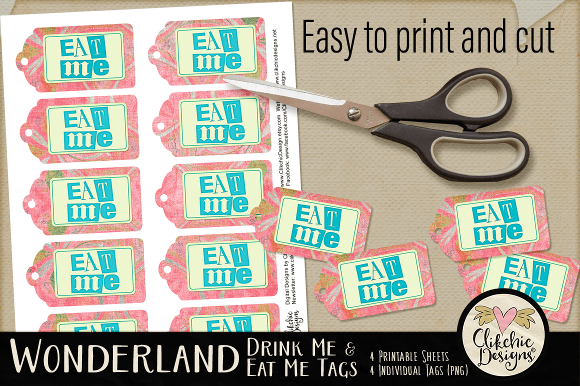 Alice In Wonderland Eat Me Drink Me Printable Tags By Clikchic Designs Thehungryjpeg Com