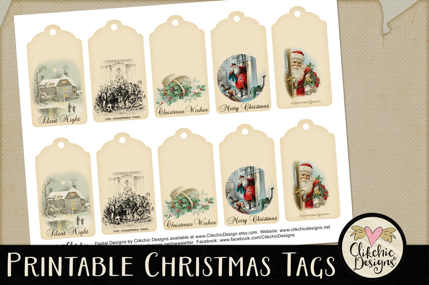 Printable Vintage Christmas Gift Tags By Clikchic Designs Thehungryjpeg Com