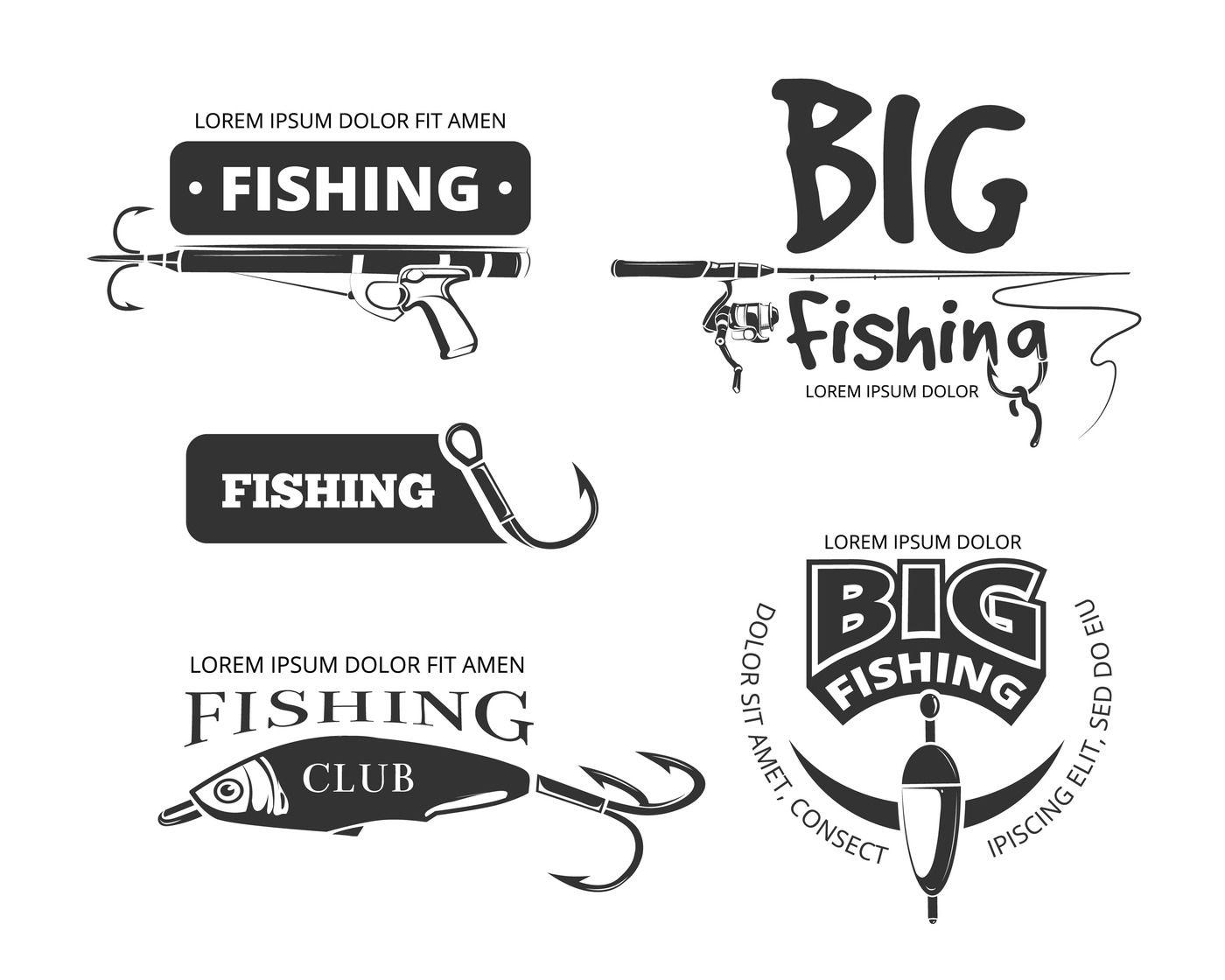 Retro Fishing Club Vector Badges Labels Logos Emblems By