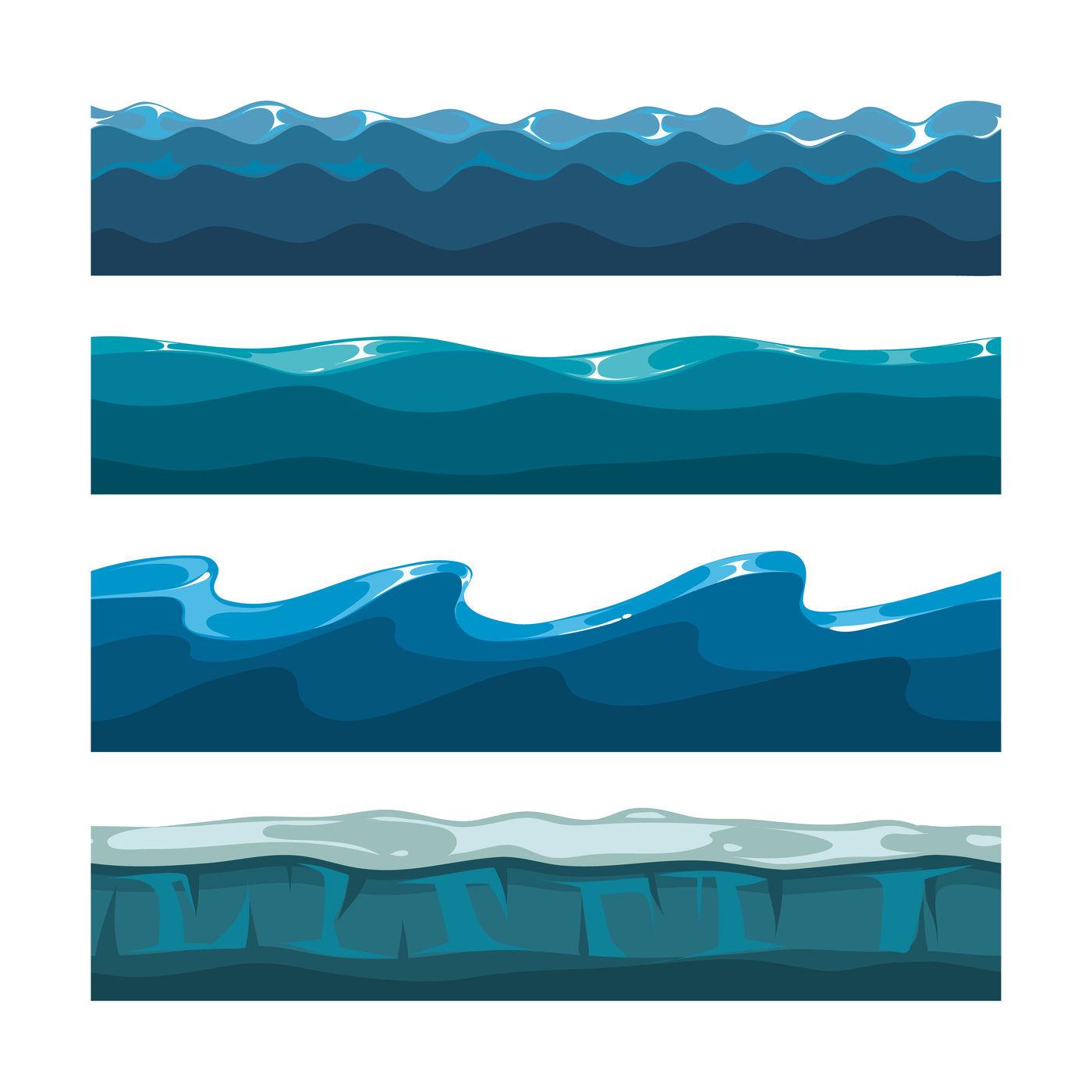 Cartoon ocean, sea, water waves vector seamless patterns ...  Ocean Water Pattern