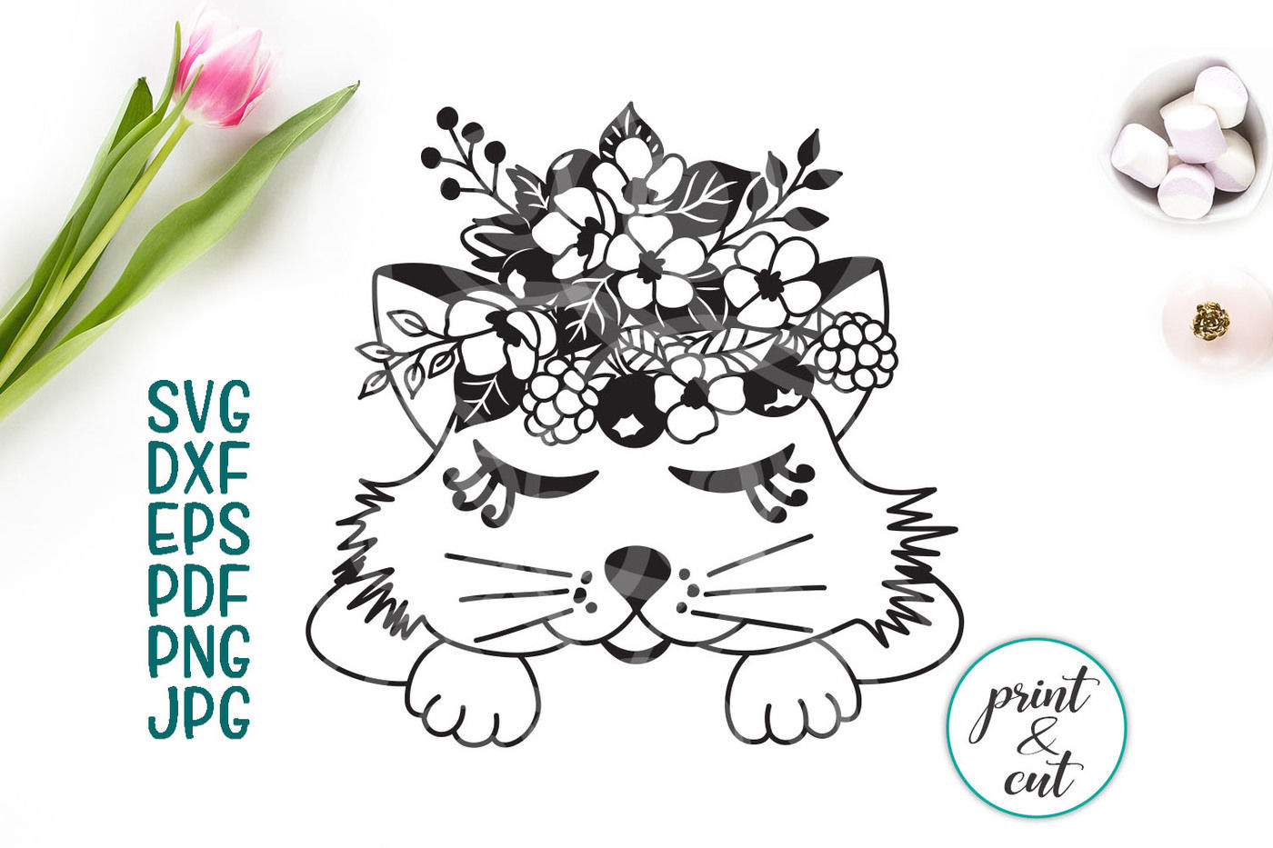 Cat Face Svg Cricut File Cat With Flowers Baby Cat Kitten