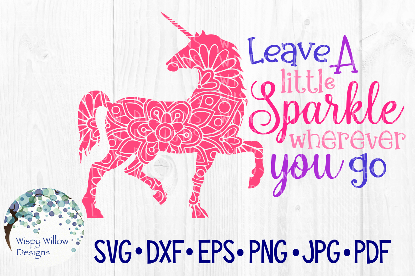 Leave A Little Sparkle Wherever You Go Unicorn Mandala Svg Dxf