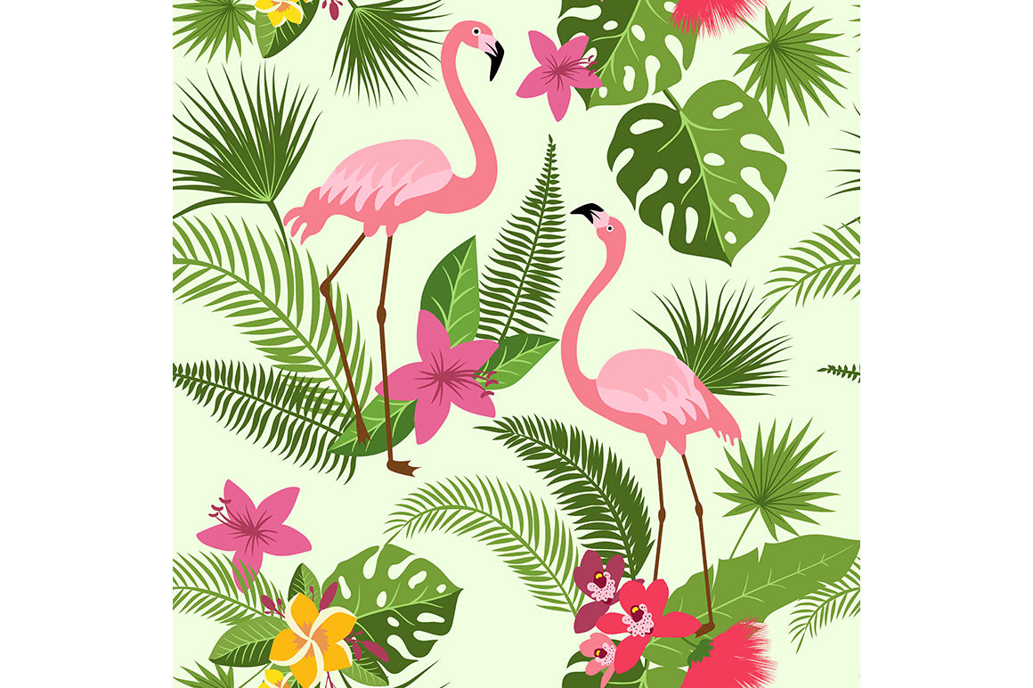 Vector Seamless Pattern With Flamingo Tropical Flowers And Palm