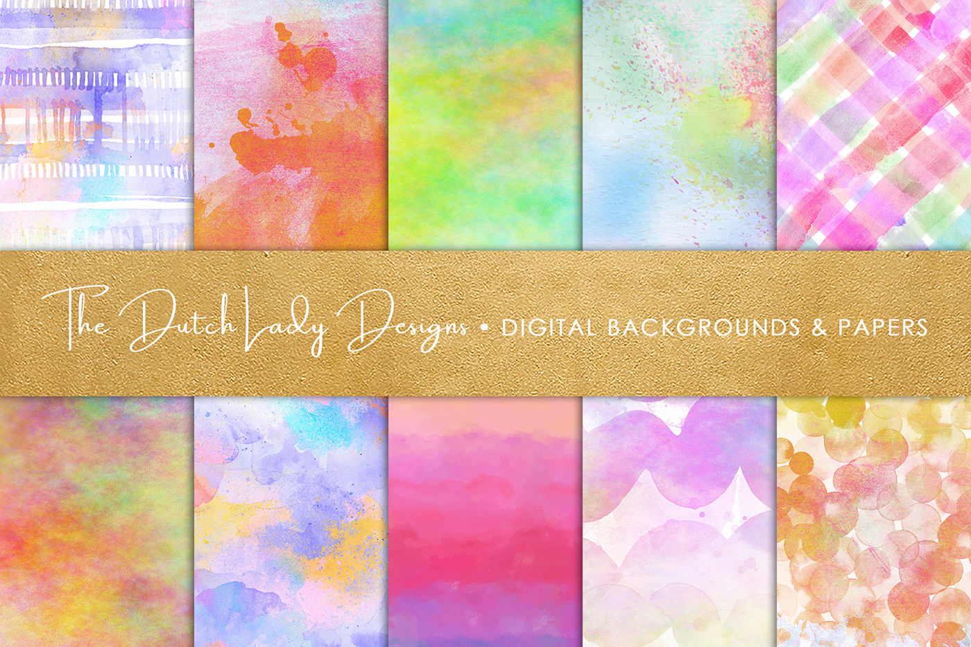 Watercolor Rainbow Scrapbook Papers By The Dutch Lady Designs