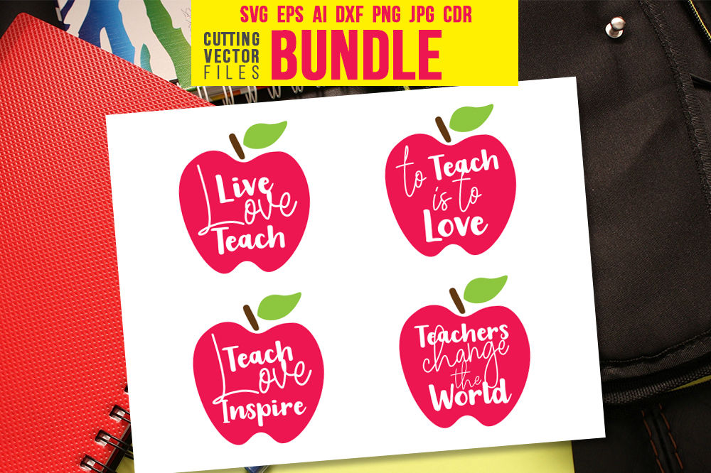 Teacher Bundle Svg Eps Ai Cdr Dxf Png Jpg By