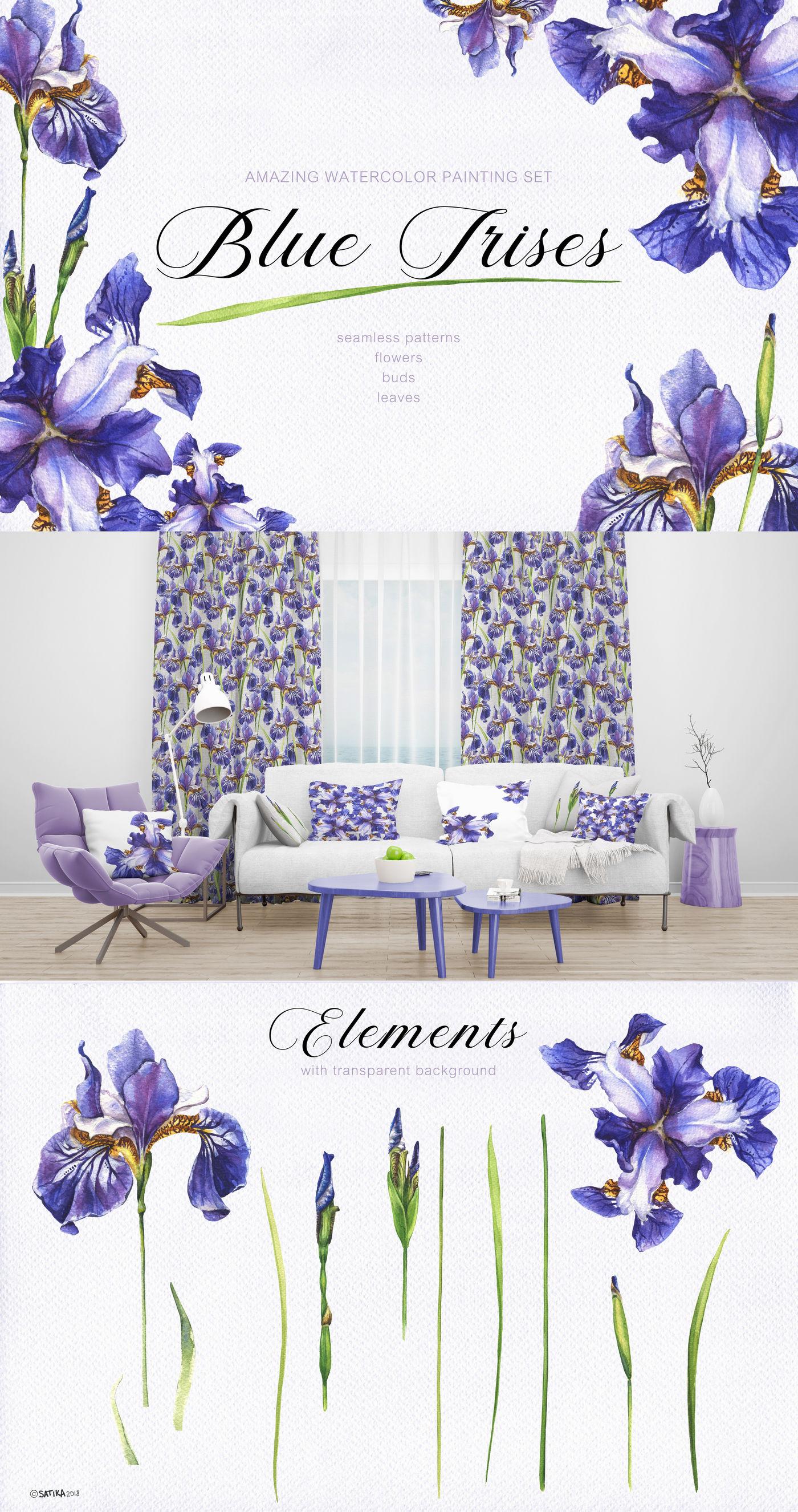 Blue Irises Watercolor Painting Set By Satika Thehungryjpeg Com