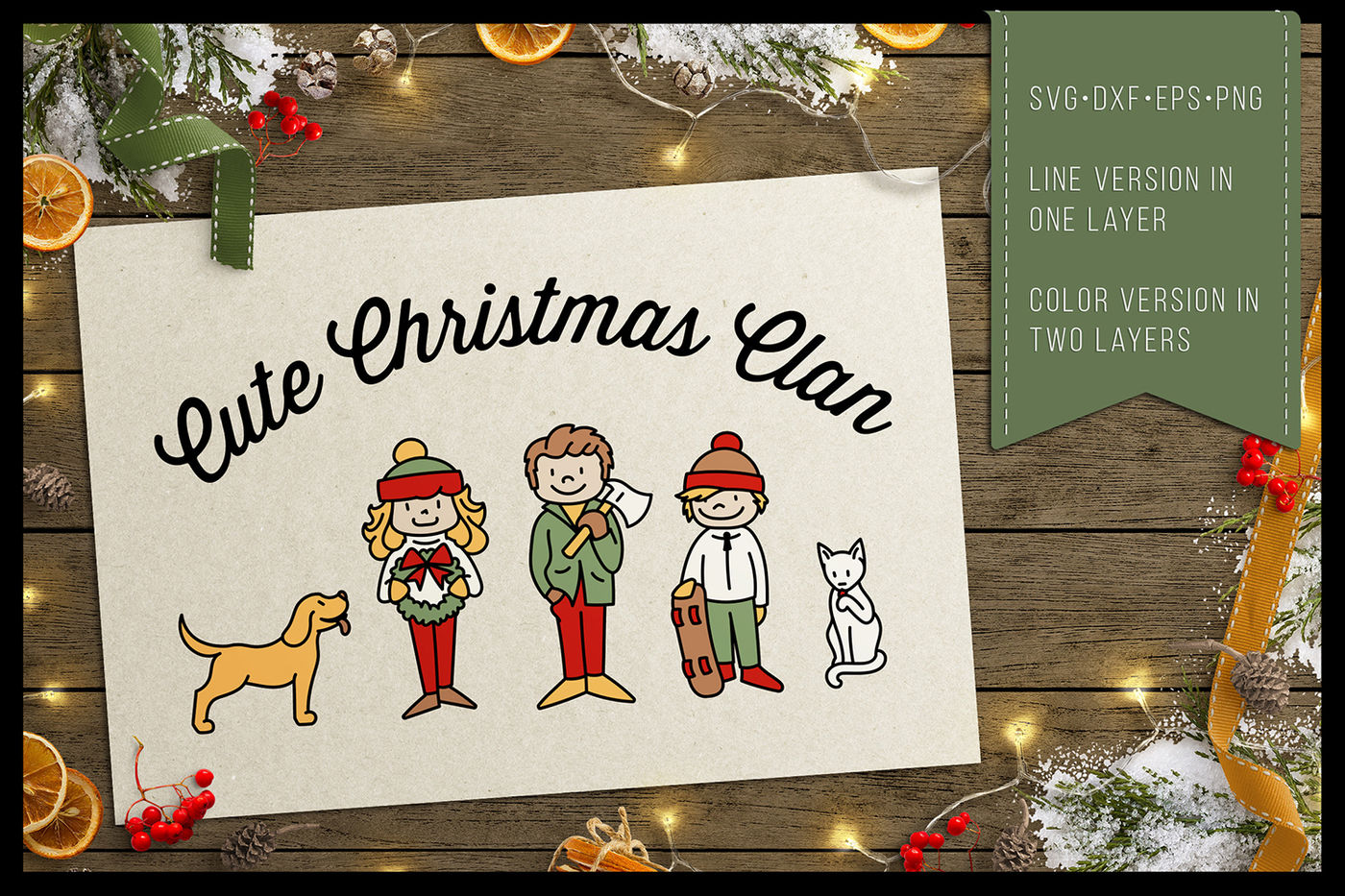 Cute Christmas Clan Christmas Family Characters Cutfiles By