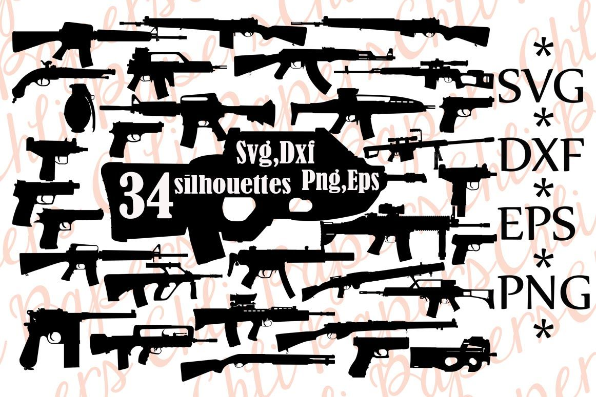 Gun Svg Silhouette Clipart Army Weapons Svg Pistol Svg Pistols