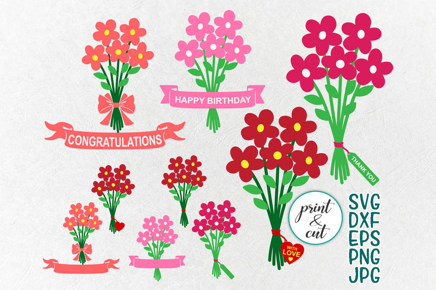 Flowers Bouquet Svg Bundle Svg Happy Birthday Svg Thank You Svg