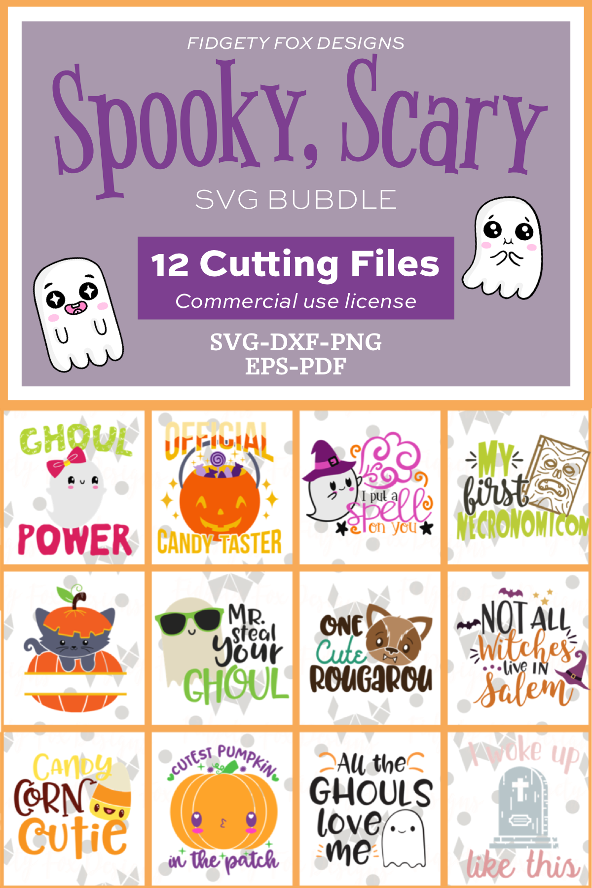 Halloween Svg Bundle Dxf Eps Pdf Png Spooky Bundle By Fidgety Fox