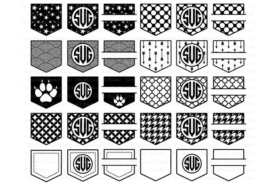 Shirt Pocket Monogram Svg Pocket Patterns Svg Files By Doodle