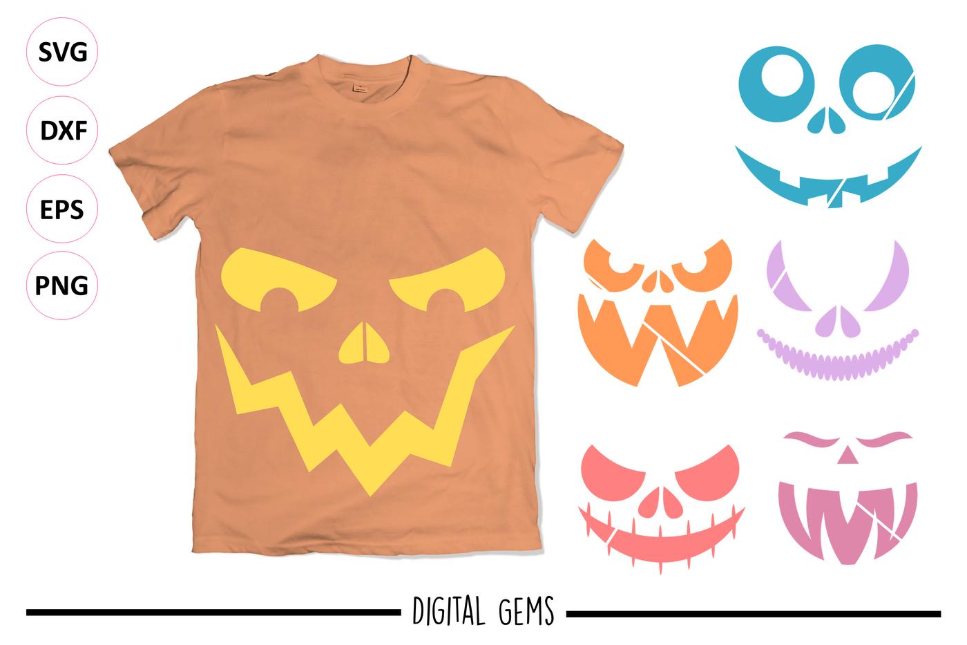 Pumpkin Faces By Digital Gems Thehungryjpeg Com