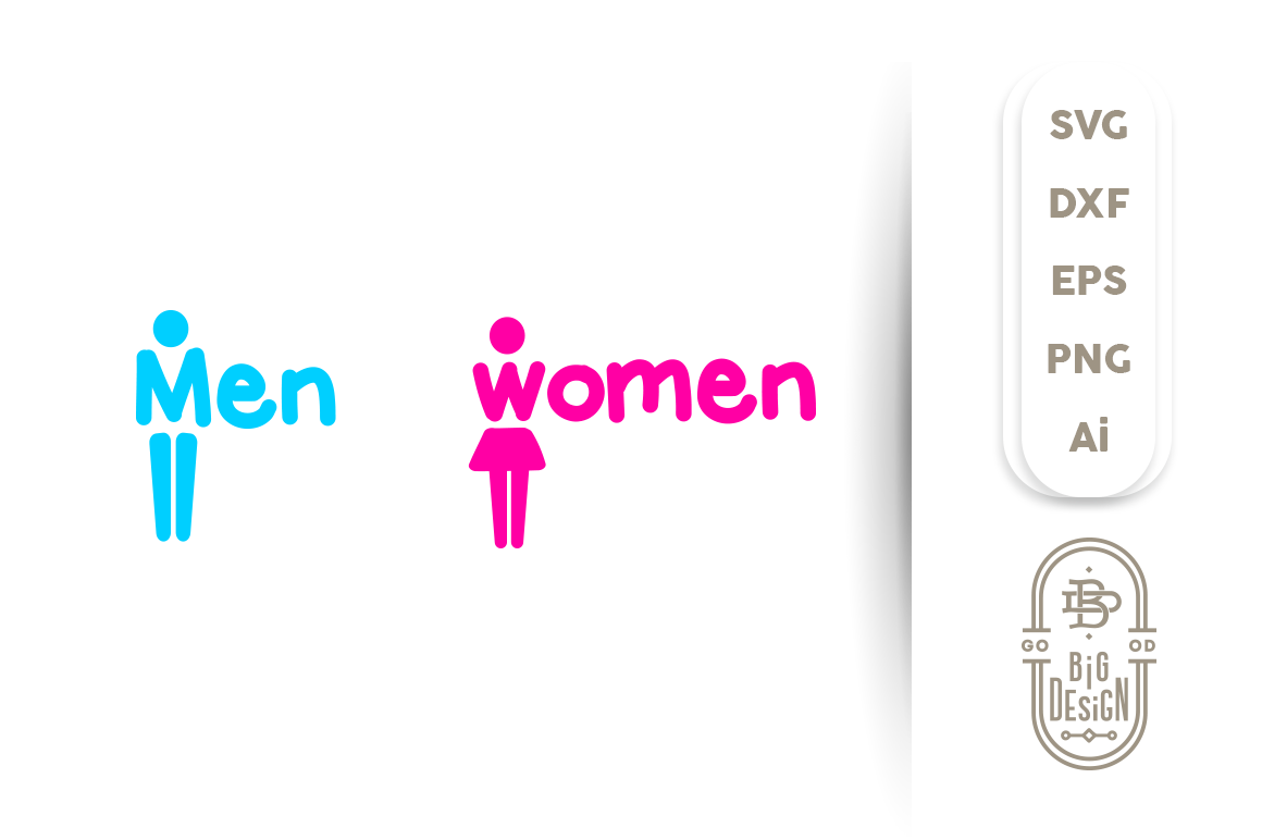 Svg Cut File Bathrom Sign Men And Women Toilet Sign By Big
