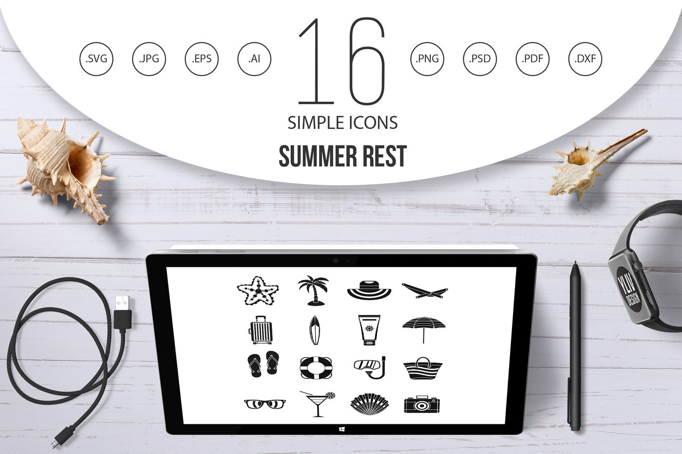 Summer Rest Icons Set Simple Style By Ylivdesign Thehungryjpeg