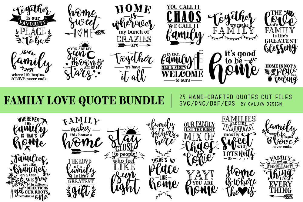 Family Love Quote Svg Cut Files Bundle By Caluya Design