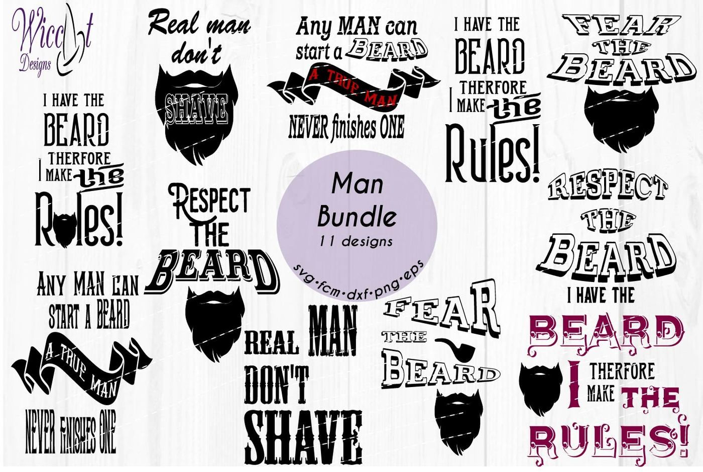Man Bundle Hipster Svg Beard Quote Svg Word Art Svg By