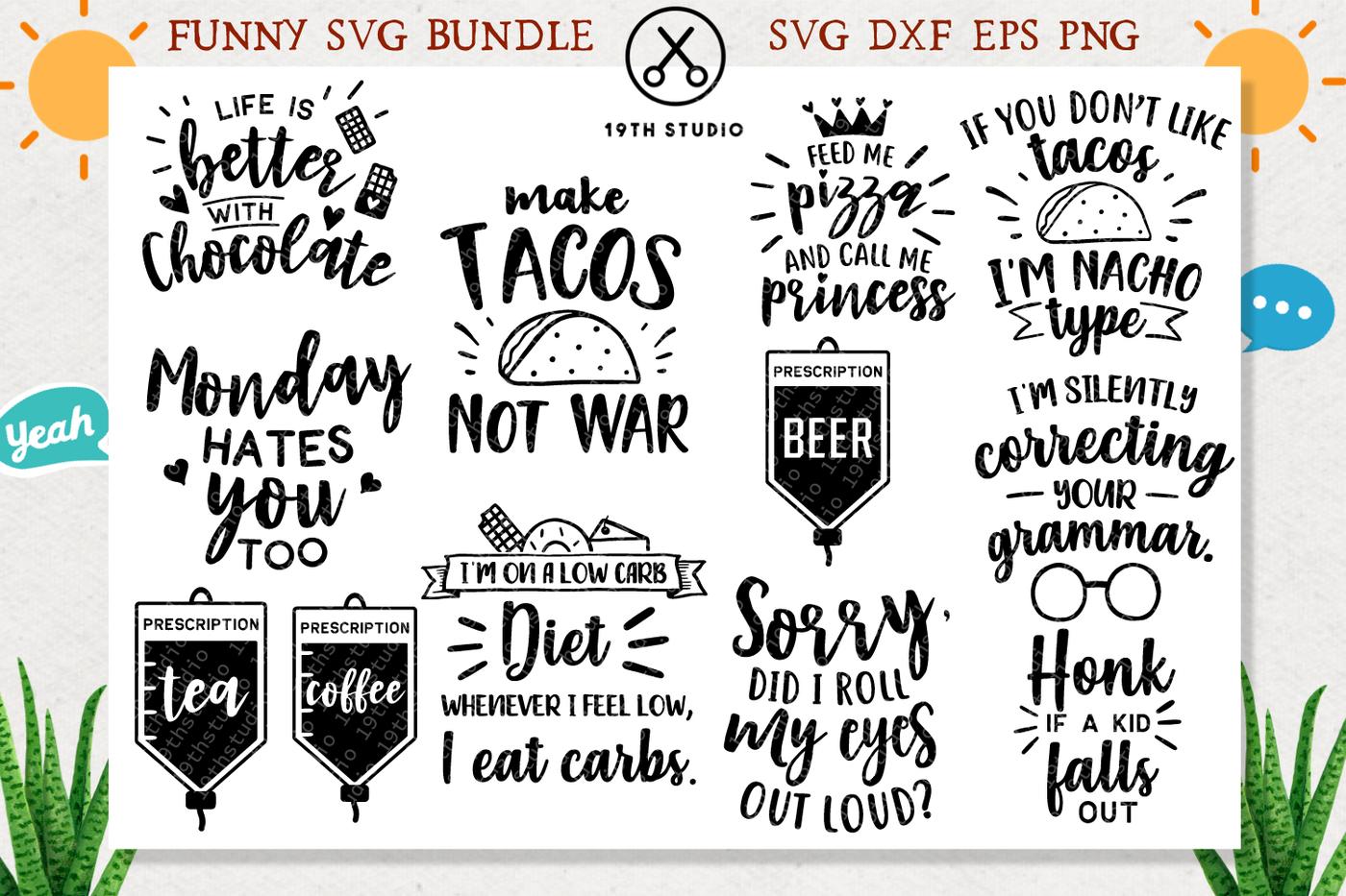 Funny Svg Bundle Svg Dxf Eps Png M4 By 19th Studio
