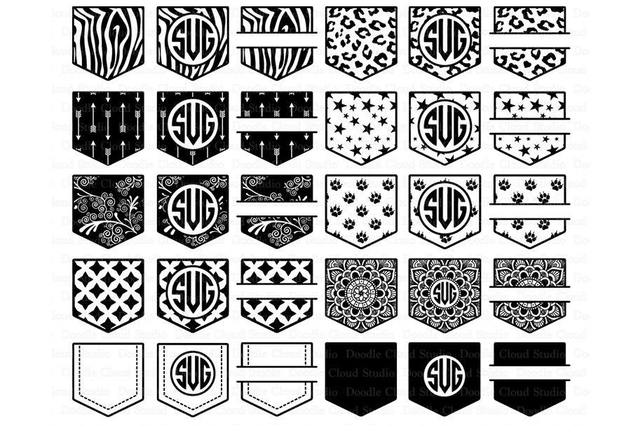 Pocket Patterns Svg Files Shirt Pocket Monogram Svg By Doodle