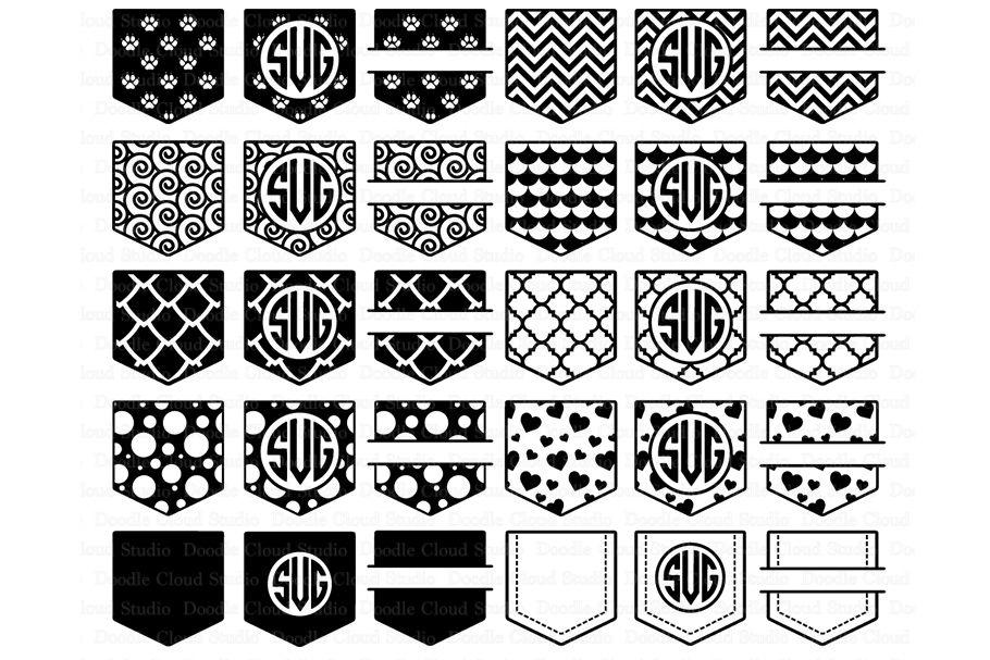 Pocket Monogram Svg Shirt Pocket Patterns Svg Files By Doodle