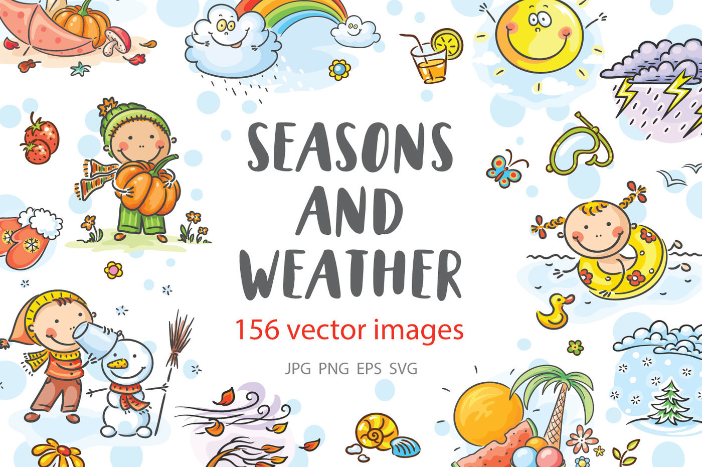 Kids Illustrations Of Different Activities During The Four Seasons