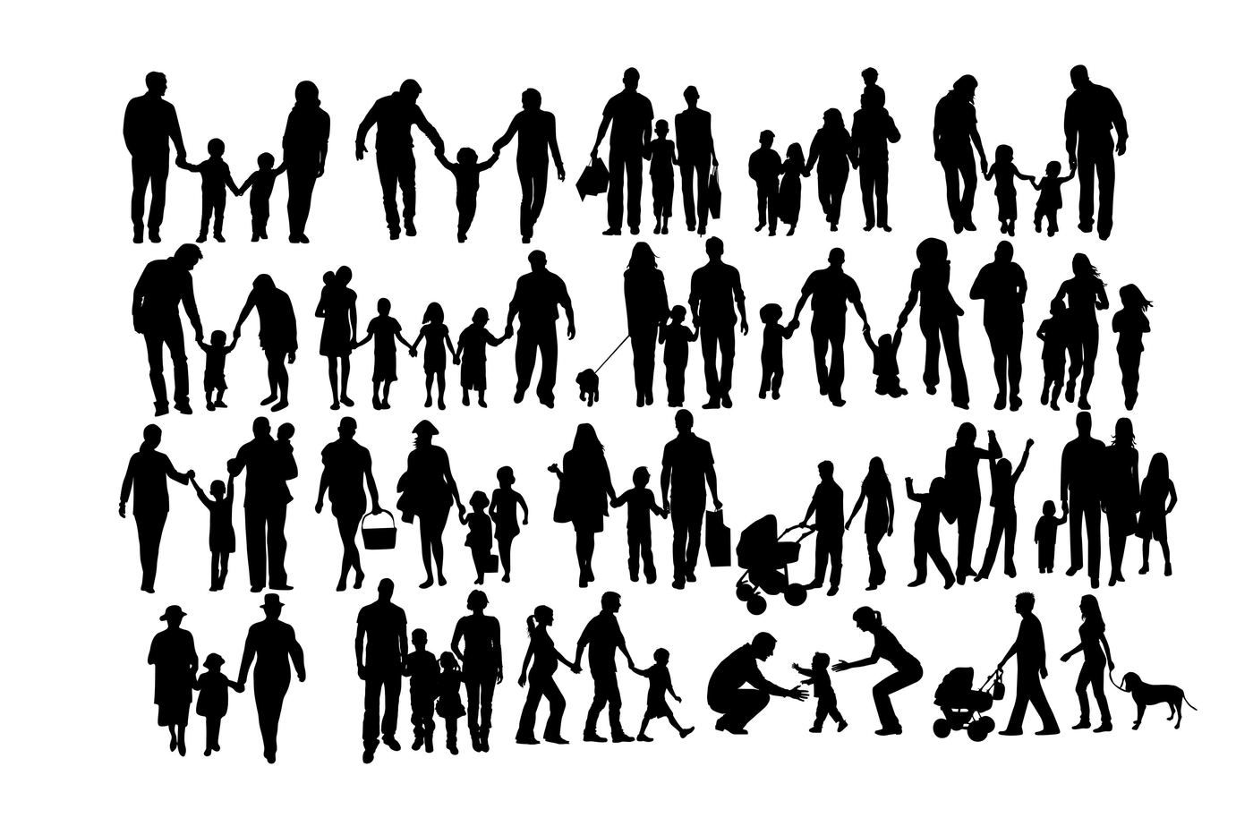 Family Silhouettes Svg Dxf Png By Twelvepapers Thehungryjpeg Com