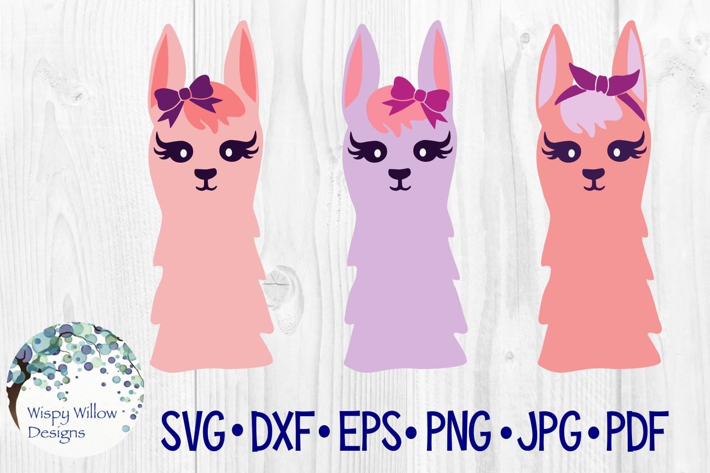 Girly Llama Set Svg Dxf Eps Png Jpg Pdf By Wispy Willow Designs