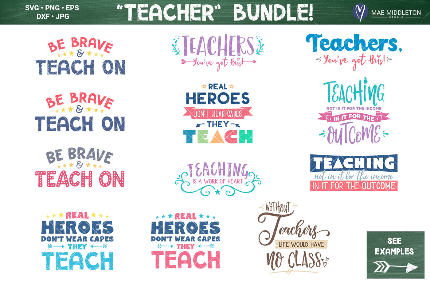 Teacher Bundle Printables Svg Cut Files By Mae Middleton Studio