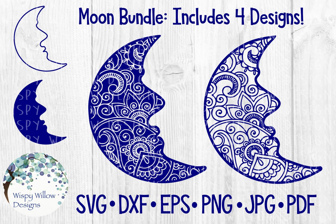 Moon Bundle Zentangle Outline Silhouette Svg Dxf Eps Png Jpg