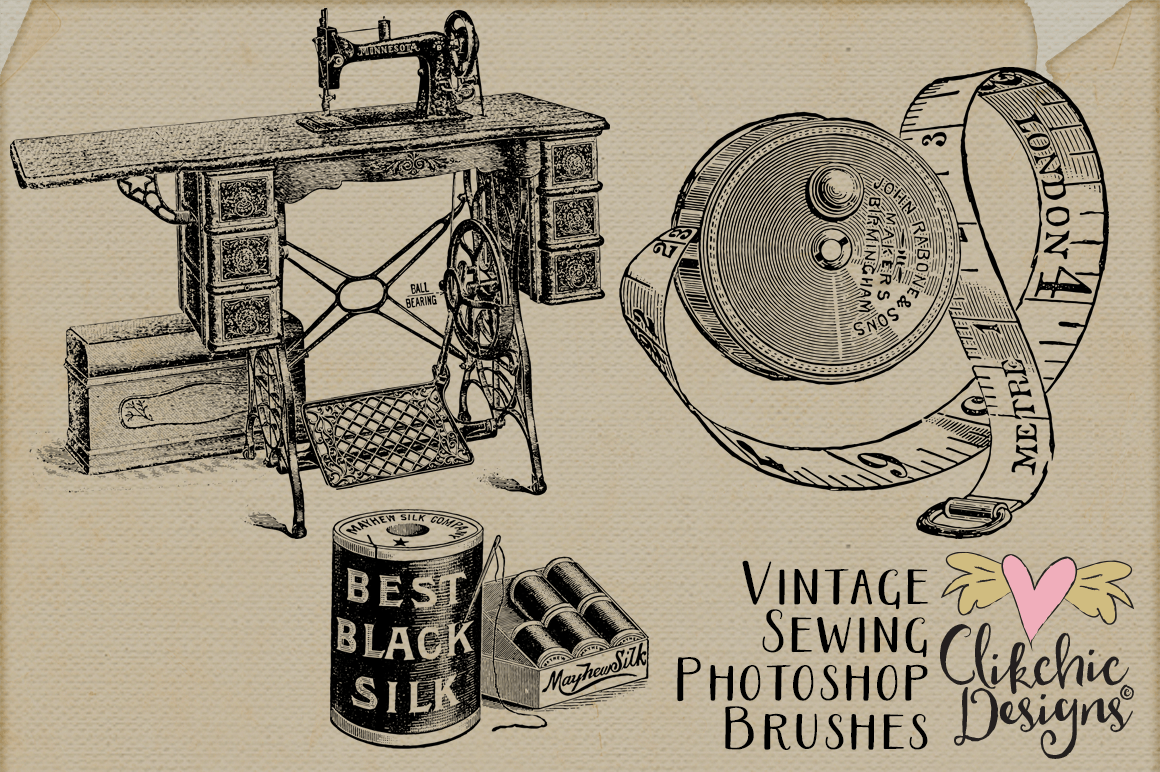 Vintage Sewing Photoshop Brushes By Clikchic Designs