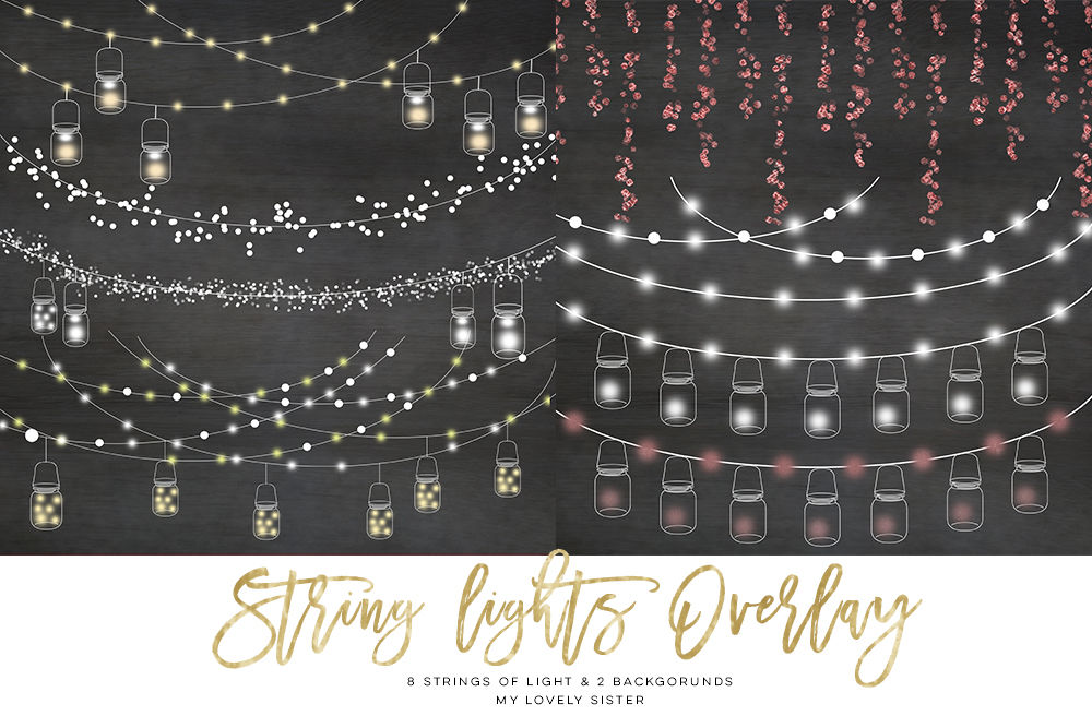 String Lights Clipart Mason Jar Chalkboard Party Lights By