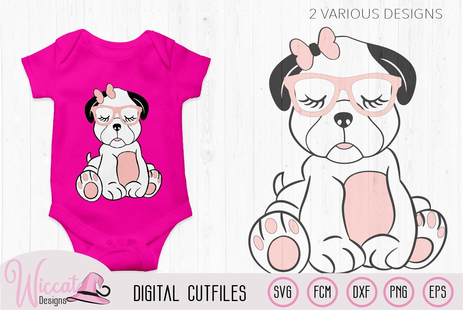 Girl Pug With Glasses Svg Dog Svg Cute Dog By Wiccatdesigns