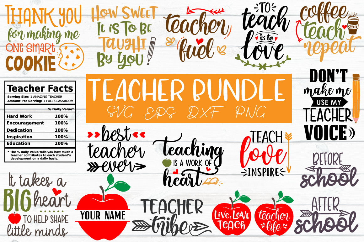 Teacher Bundle Svg Eps Dxf Png By Craft Pixel Perfect