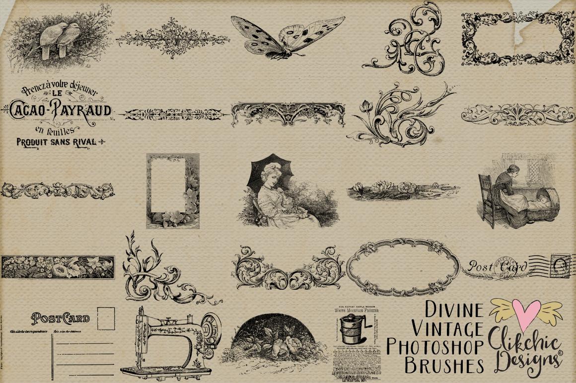 Divine Vintage Photoshop Brushes By Clikchic Designs