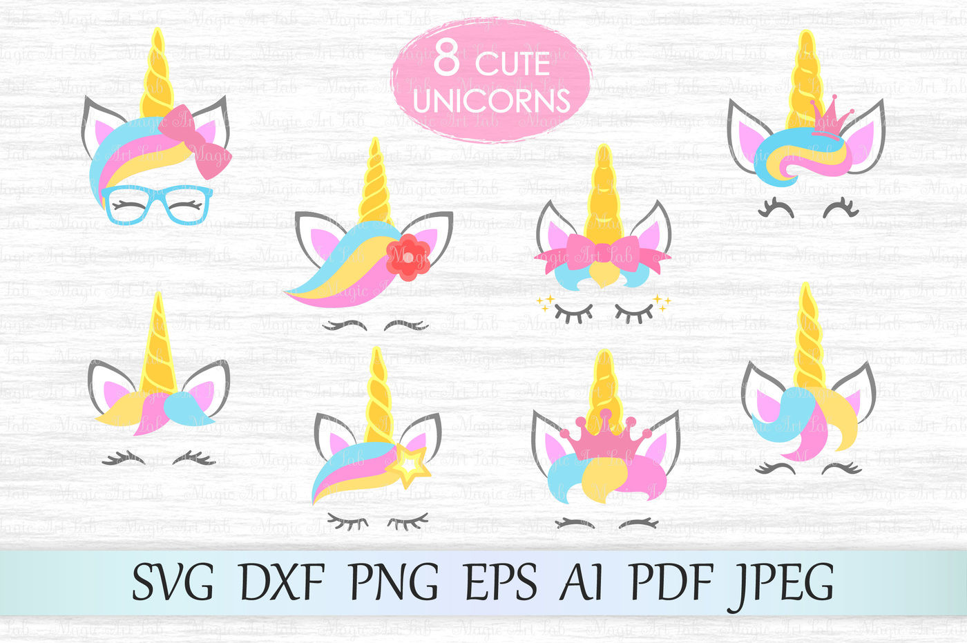 Unicorn Svg Unicorn Face Cut Files Unicorn Heads Cliparts Dxf