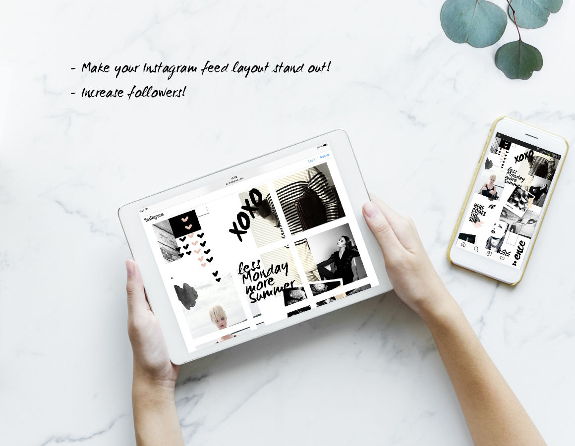 Instagram PUZZLE template - Grunge Style By CreativeFolks