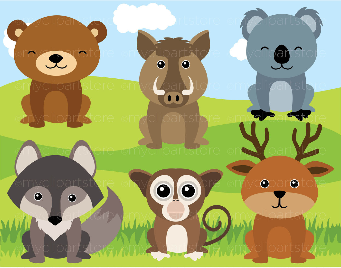 Woodland Animals Vector Clipart By Myclipartstore Thehungryjpeg Com