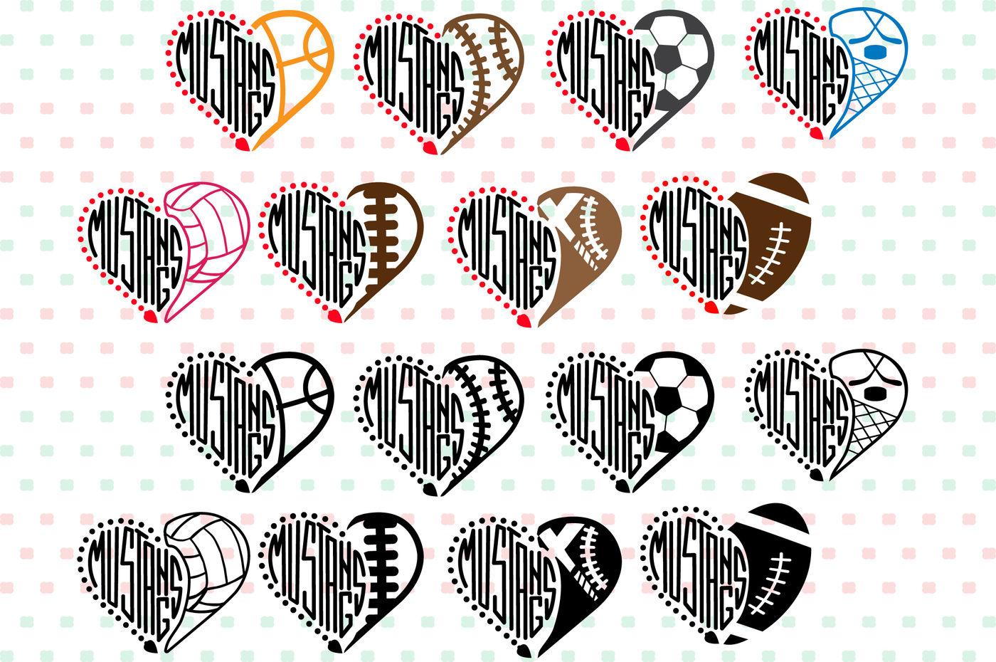 Mustangs Sport Heart Svg Nfl Nba Mlb Ncaaf Cheer High School 913s