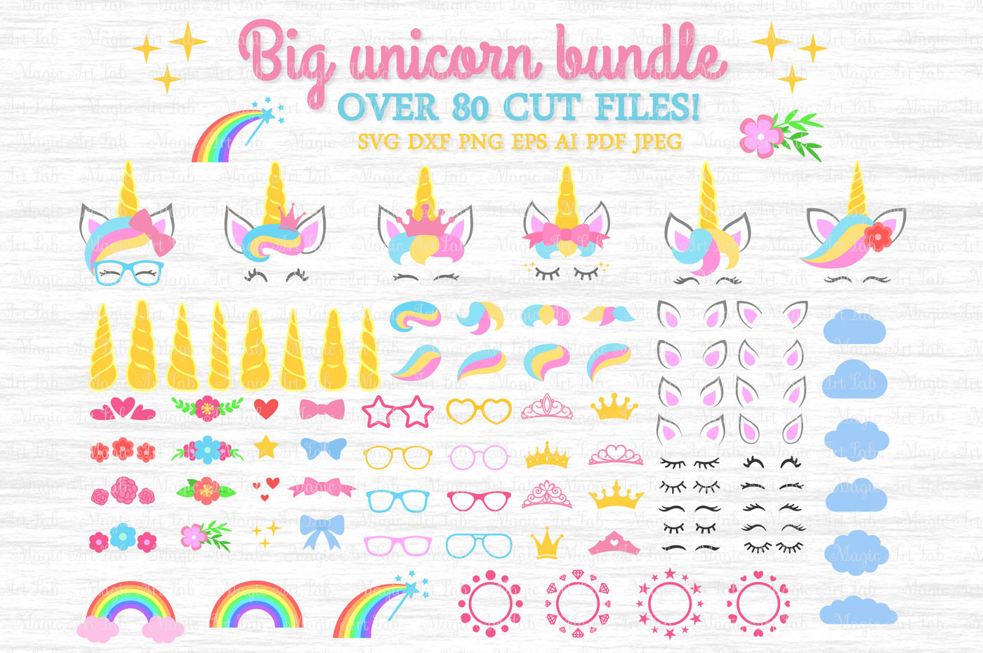 Unicorn Svg Unicorn Bundle Svg Unicorn Clipart Unicorn Party